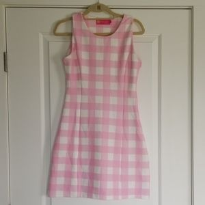 MACBETH COLLECTION pink & white plaid LARGE dress